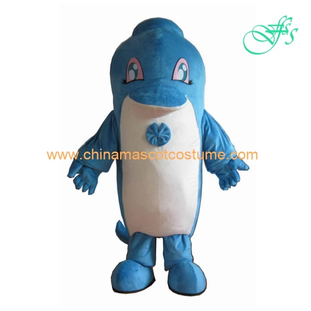 Blue dolphin animal mascot costume