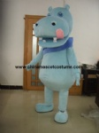 Sky blue hippo animal mascot
